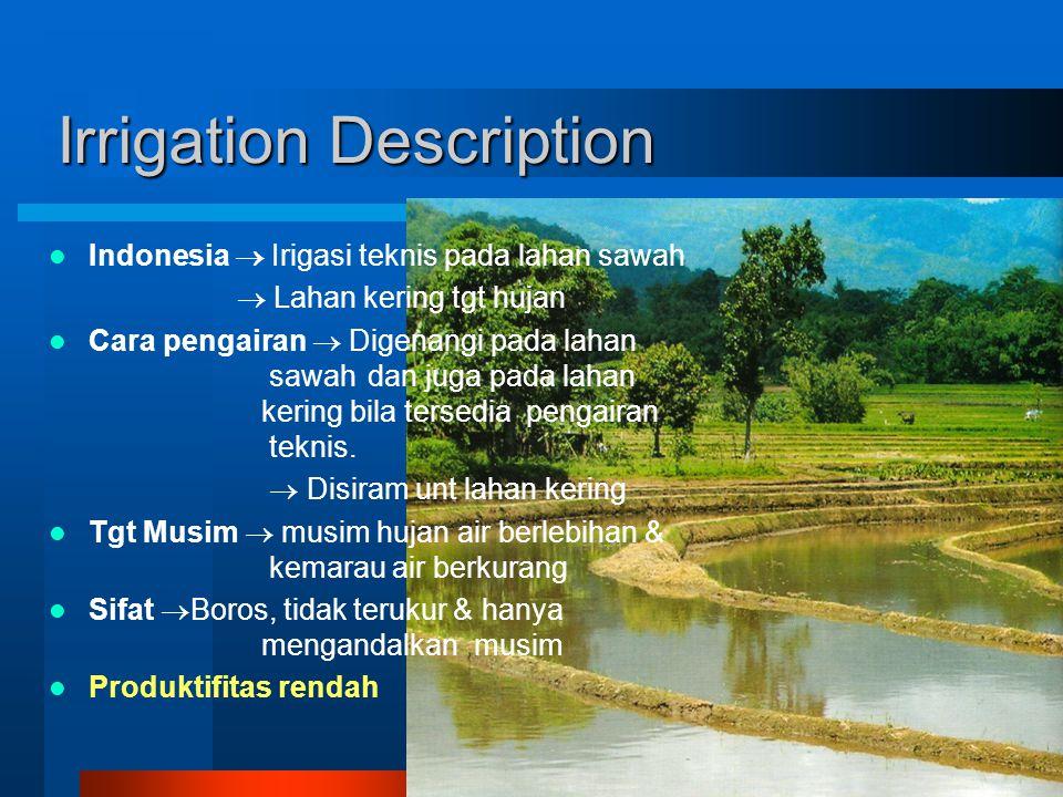 Irrigation Description Indonesia  Irigasi teknis pada lahan sawah  Lahan kering tgt hujan Cara pengairan  Digenangi pada lahan sawah dan juga pada lahan kering bila tersedia pengairan teknis.