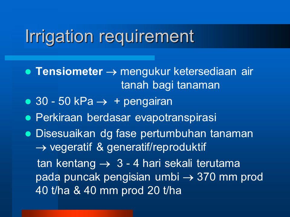 Irrigation requirement Tensiometer  mengukur ketersediaan air tanah bagi tanaman 30 - 50 kPa  + pengairan Perkiraan berdasar evapotranspirasi Disesuaikan dg fase pertumbuhan tanaman  vegeratif & generatif/reproduktif tan kentang  3 - 4 hari sekali terutama pada puncak pengisian umbi  370 mm prod 40 t/ha & 40 mm prod 20 t/ha