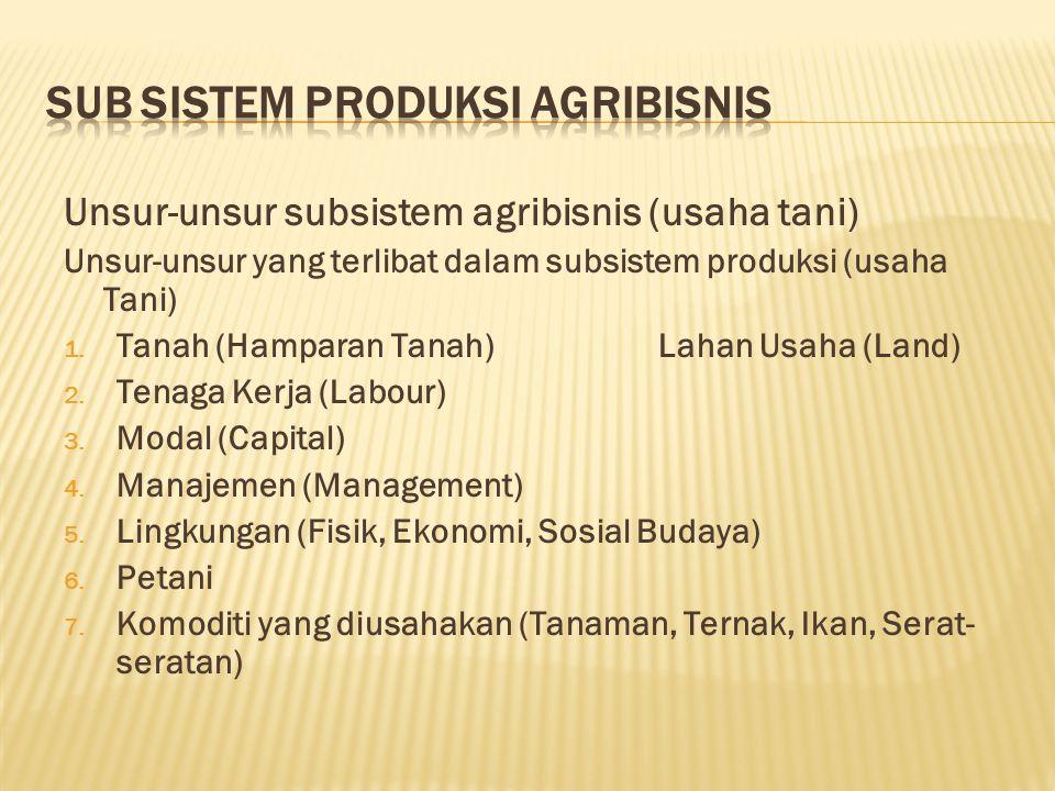 Unsur-unsur subsistem agribisnis (usaha tani) Unsur-unsur yang terlibat dalam subsistem produksi (usaha Tani) 1.