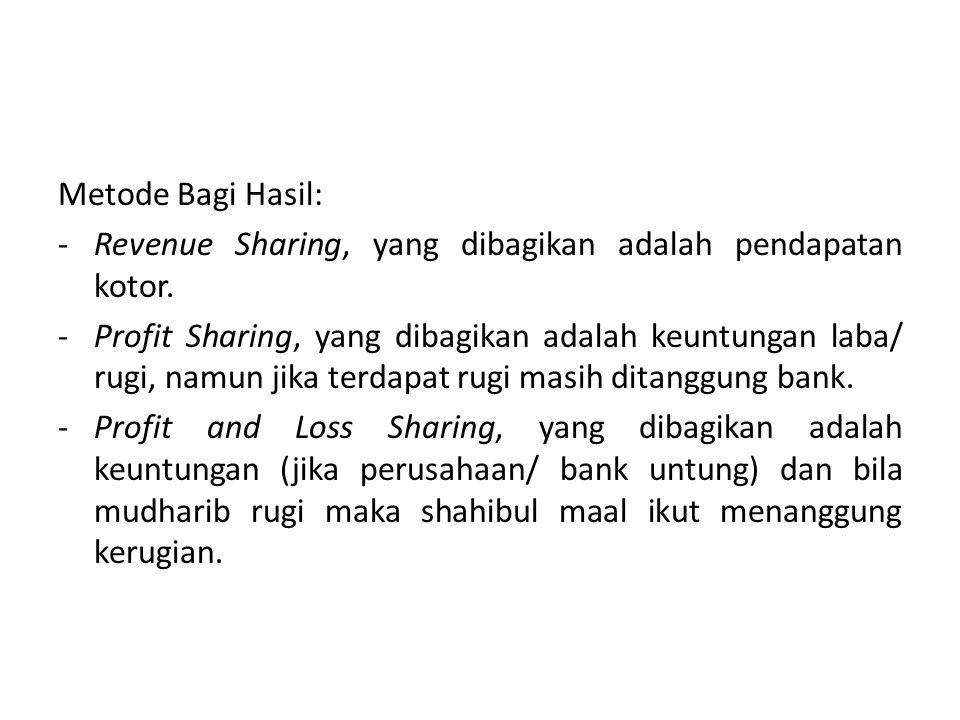 Metode Bagi Hasil: -Revenue Sharing, yang dibagikan adalah pendapatan kotor. -Profit Sharing, yang dibagikan adalah keuntungan laba/ rugi, namun jika