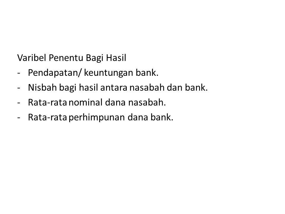 Varibel Penentu Bagi Hasil -Pendapatan/ keuntungan bank. -Nisbah bagi hasil antara nasabah dan bank. -Rata-rata nominal dana nasabah. -Rata-rata perhi