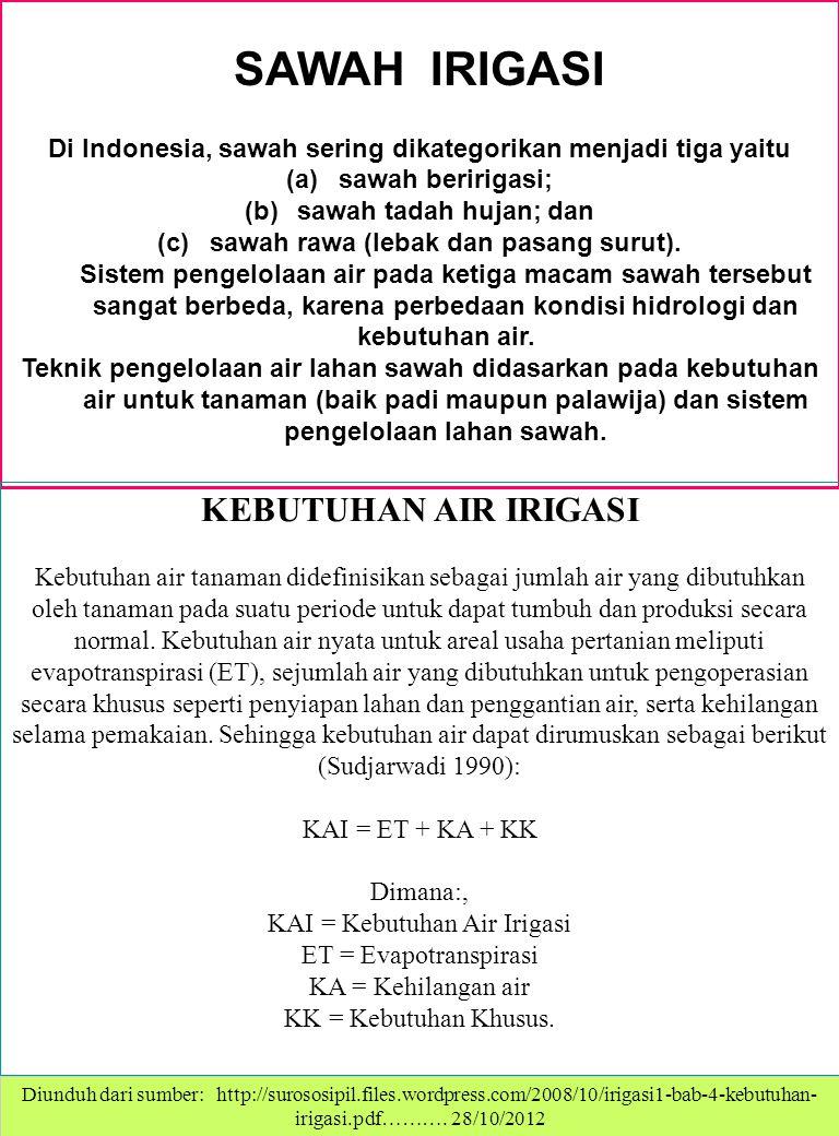SAWAH IRIGASI Di Indonesia, sawah sering dikategorikan menjadi tiga yaitu (a)sawah beririgasi; (b)sawah tadah hujan; dan (c)sawah rawa (lebak dan pasang surut).
