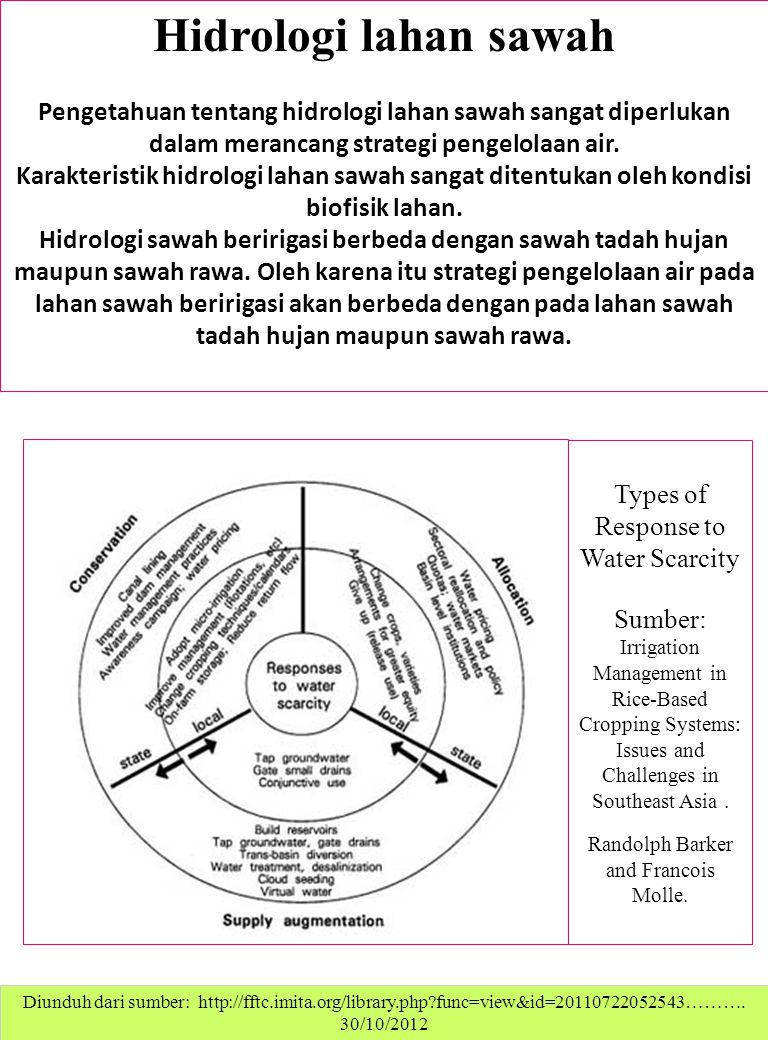 Hidrologi lahan sawah Pengetahuan tentang hidrologi lahan sawah sangat diperlukan dalam merancang strategi pengelolaan air.