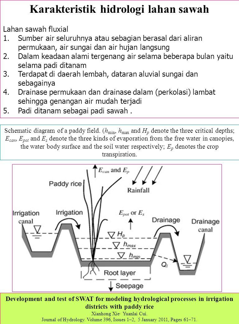 Karakteristik hidrologi lahan sawah Lahan sawah fluxial 1.Sumber air seluruhnya atau sebagian berasal dari aliran permukaan, air sungai dan air hujan