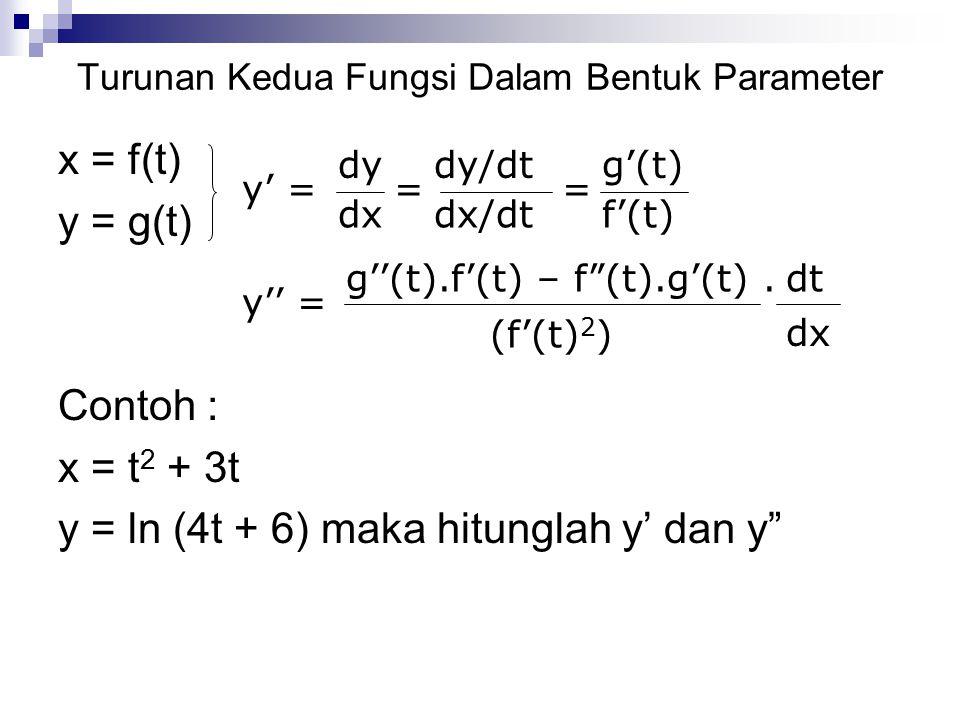 "Turunan Kedua Fungsi Dalam Bentuk Parameter x = f(t) y = g(t) Contoh : x = t 2 + 3t y = ln (4t + 6) maka hitunglah y' dan y"" y' = dy dx dy/dt = dx/dt"