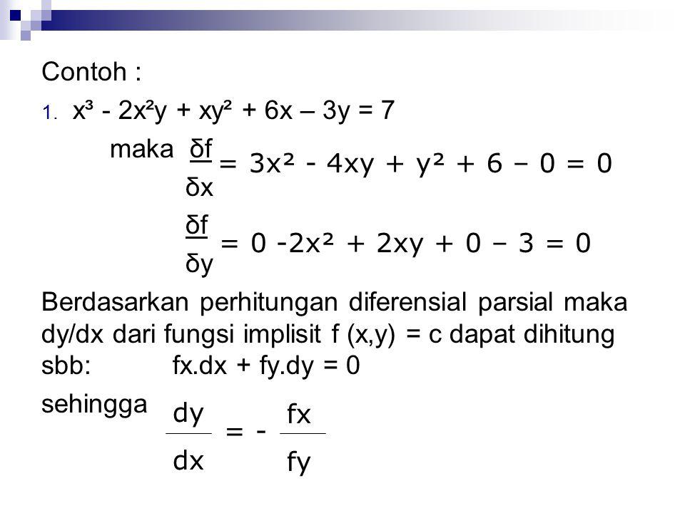 Contoh : 1. x³ - 2x²y + xy² + 6x – 3y = 7 maka δf δx δf δy Berdasarkan perhitungan diferensial parsial maka dy/dx dari fungsi implisit f (x,y) = c dap