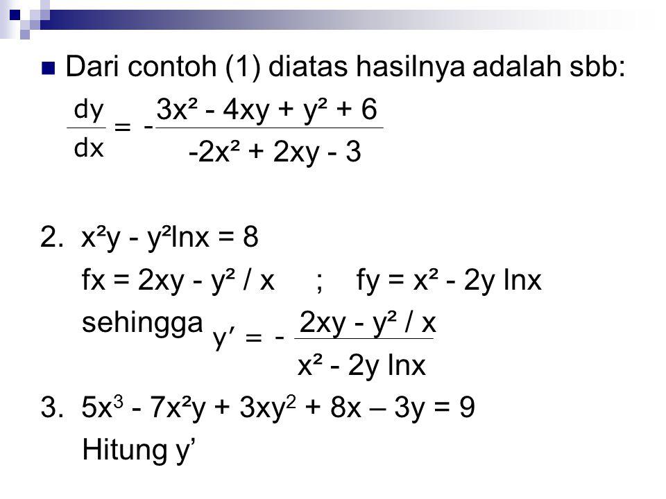Dari contoh (1) diatas hasilnya adalah sbb: 3x² - 4xy + y² + 6 -2x² + 2xy - 3 2. x²y - y²lnx = 8 fx = 2xy - y² / x ; fy = x² - 2y lnx sehingga 2xy - y
