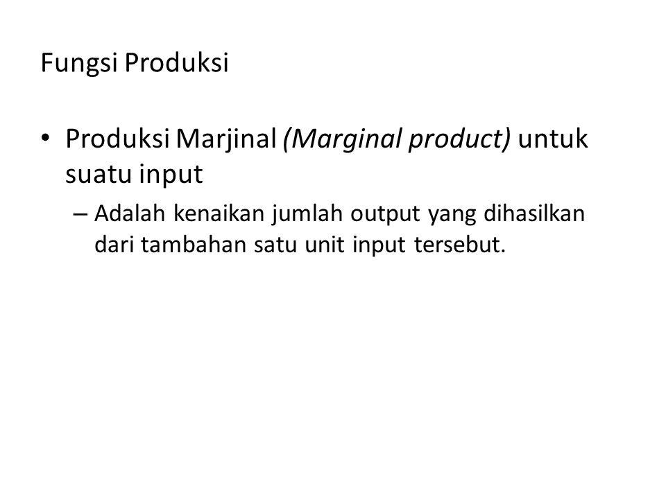 Fungsi Produksi Produksi Marjinal (Marginal product) untuk suatu input – Adalah kenaikan jumlah output yang dihasilkan dari tambahan satu unit input t