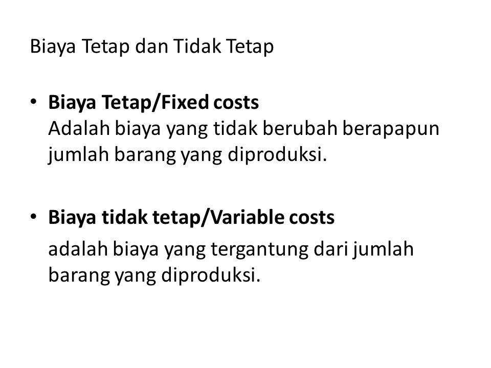 Biaya Tetap dan Tidak Tetap Biaya Tetap/Fixed costs Biaya Tetap/Fixed costs Adalah biaya yang tidak berubah berapapun jumlah barang yang diproduksi. B