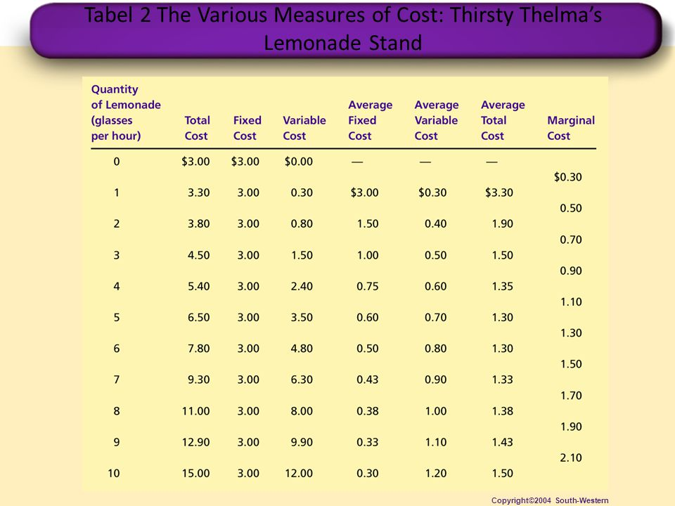 Tabel 2 The Various Measures of Cost: Thirsty Thelma's Lemonade Stand Copyright©2004 South-Western