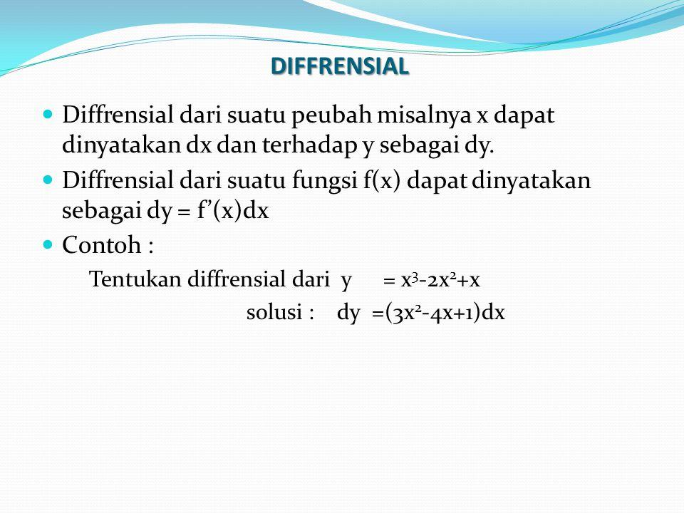 DIFFRENSIAL Diffrensial dari suatu peubah misalnya x dapat dinyatakan dx dan terhadap y sebagai dy. Diffrensial dari suatu fungsi f(x) dapat dinyataka