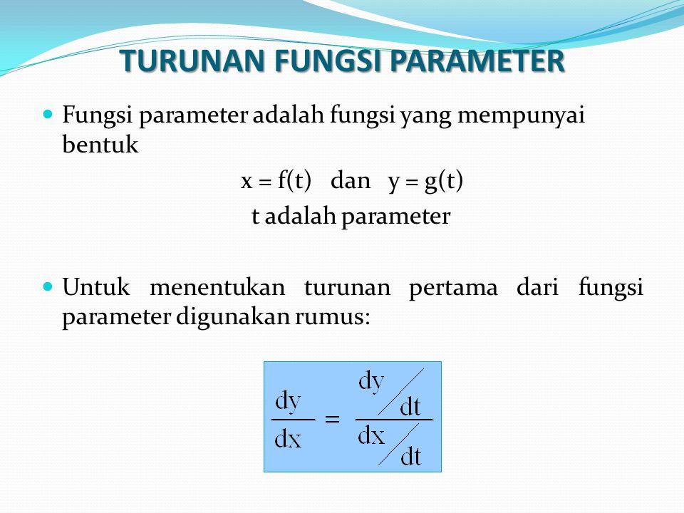 TURUNAN FUNGSI PARAMETER Fungsi parameter adalah fungsi yang mempunyai bentuk x = f(t) dan y = g(t) t adalah parameter Untuk menentukan turunan pertam
