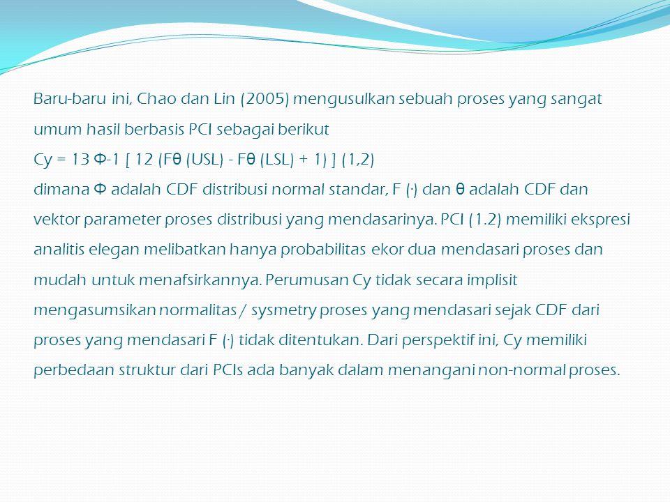 Baru-baru ini, Chao dan Lin (2005) mengusulkan sebuah proses yang sangat umum hasil berbasis PCI sebagai berikut Cy = 13 Φ -1 [ 12 (F θ (USL) - F θ (L