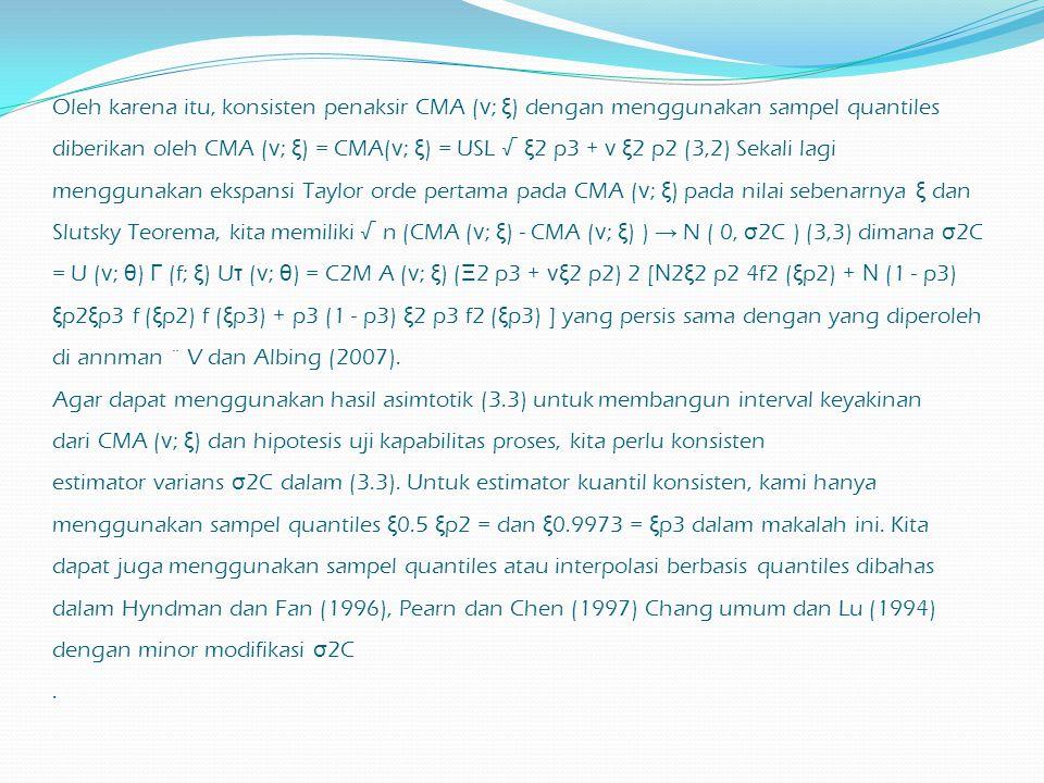 Oleh karena itu, konsisten penaksir CMA ( ν ; ξ ) dengan menggunakan sampel quantiles diberikan oleh CMA ( ν ; ξ ) = CMA( ν ; ξ ) = USL √ ξ 2 p3 + ν ξ