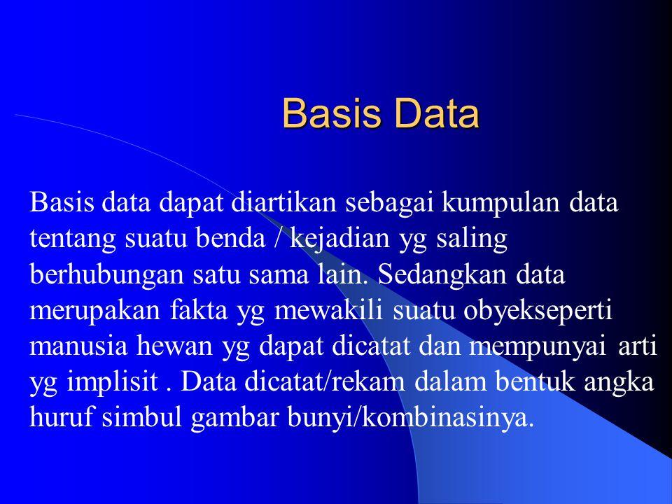 PENGANTAR BASIS DATA Sekarang ini peran basis data sangat menonjol. Pemprosesan basis data menjadi perangkat andalan yg kehadiranya sangat diperlukan
