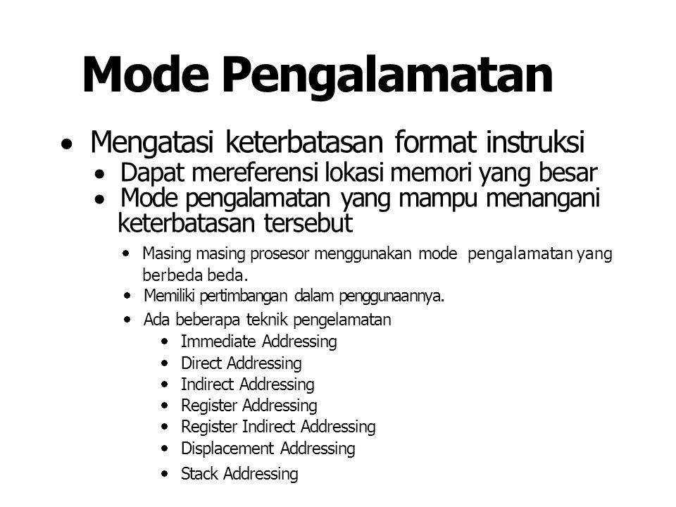 Mode Pengalamatan  Mengatasi keterbatasan format instruksi  Dapat mereferensi lokasi memori yang besar  Mode pengalamatan yang mampu menangani keterbatasan tersebut  Masing masing prosesor menggunakan mode pengalamatan yang berbeda beda.