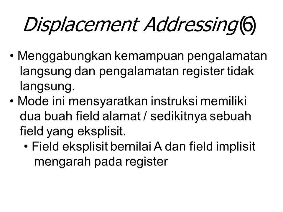 Displacement Addressing (6) Menggabungkan kemampuan pengalamatan langsung dan pengalamatan register tidak langsung. Mode ini mensyaratkan instruksi me