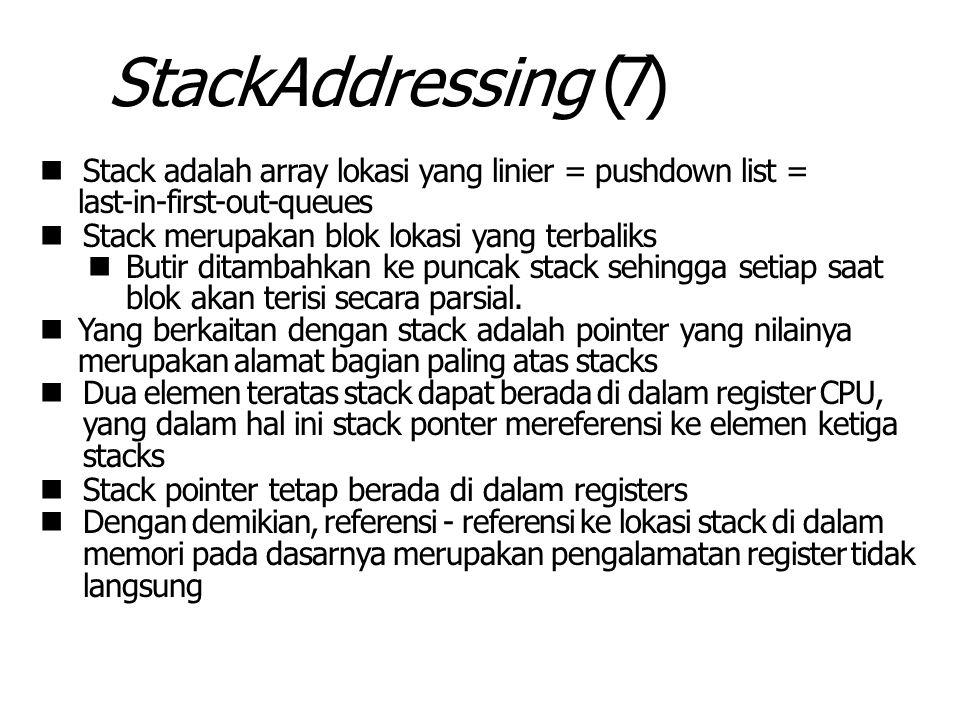 StackAddressing (7) Stack adalah array lokasi yang linier = pushdown list = last-in-first-out-queues Stack merupakan blok lokasi yang terbaliks Butir ditambahkan ke puncak stack sehingga setiap saat blok akan terisi secara parsial.