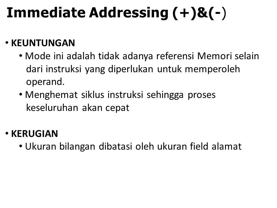 Immediate Addressing (+)&(-) KEUNTUNGAN Mode ini adalah tidak adanya referensi Memori selain dari instruksi yang diperlukan untuk memperoleh operand.