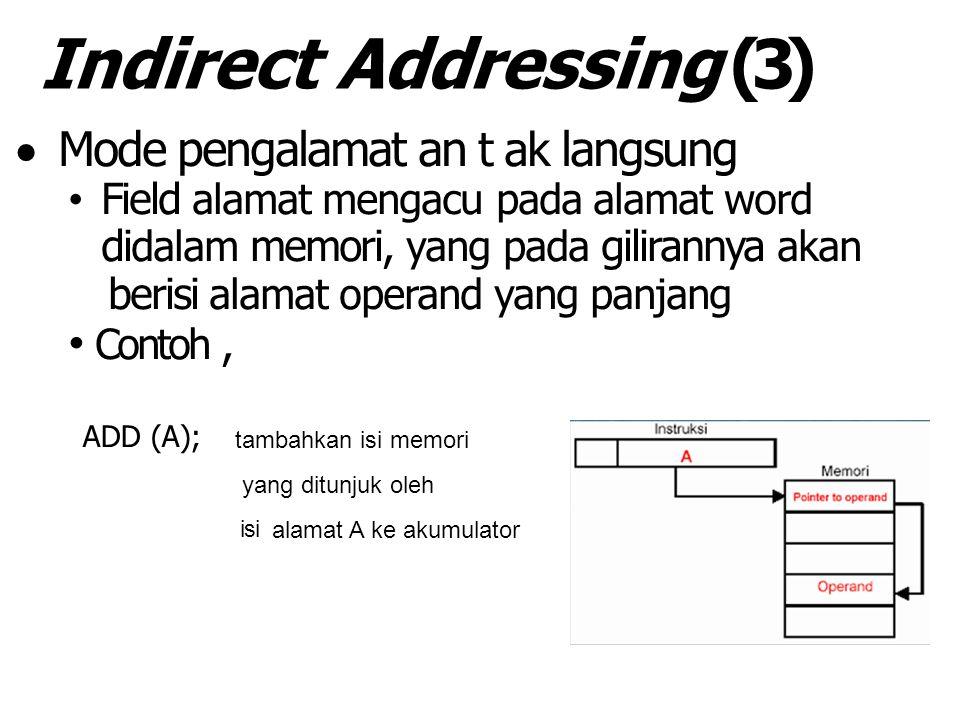 Indirect Addressing (3)  Mode pengalamat an t ak langsung Field alamat mengacu pada alamat word di dalam memori, yang pada gilirannya akan berisi alamat operand yang panjang Contoh, ADD (A); tambahkan isi memori yang ditunjuk oleh isi alamat A ke akumulator