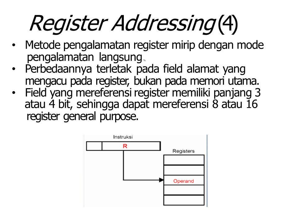 Register Addressing (4) Metode pengalamatan register mirip dengan mode pengalamatan langsung % Perbedaannya terletak pada field alamat yang mengacu pada register, bukan pada memori utama.