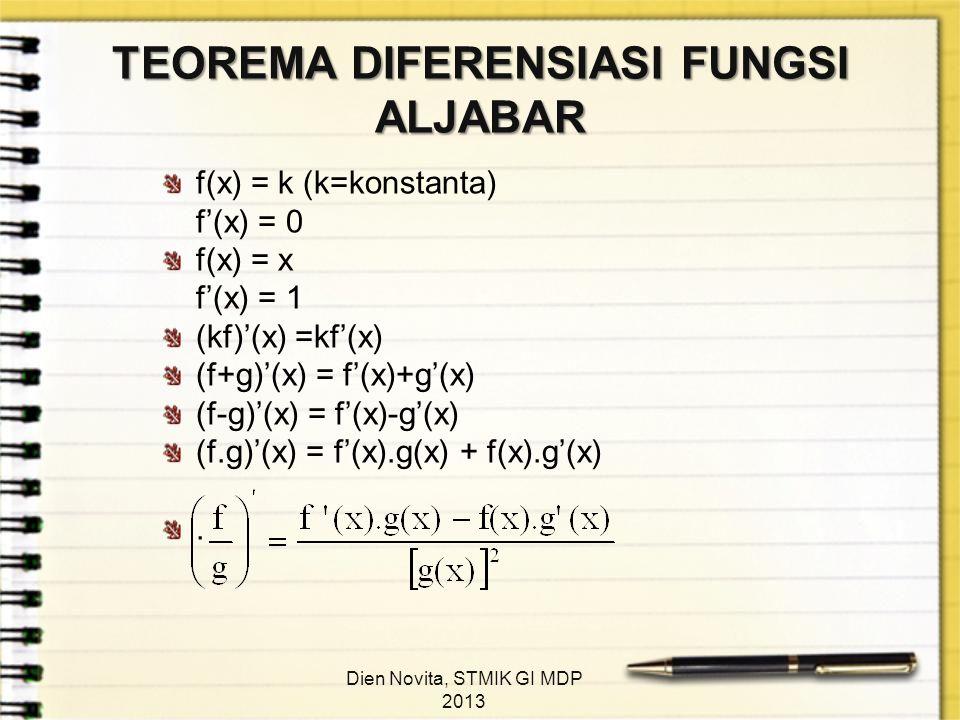 TEOREMA DIFERENSIASI FUNGSI ALJABAR f(x) = k (k=konstanta) f'(x) = 0 f(x) = x f'(x) = 1 (kf)'(x) =kf'(x) (f+g)'(x) = f'(x)+g'(x) (f-g)'(x) = f'(x)-g'(