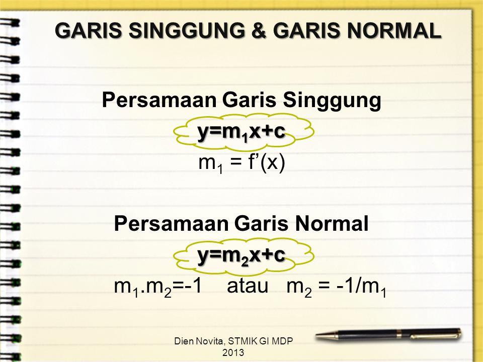 GARIS SINGGUNG & GARIS NORMAL Persamaan Garis Singgung y=m 1 x+c m 1 = f'(x) Persamaan Garis Normal y=m 2 x+c m 1.m 2 =-1 atau m 2 = -1/m 1 Dien Novit