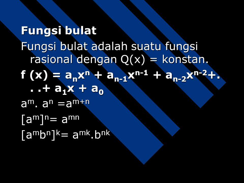 Fungsi rasional Fungsi rasional adalah fungsi yang mempunyai bentuk P(x)/Q(x) dengan P(x) dan Q(x) adalah polinomial-polinomial dan Q(x)  0. Selanjut