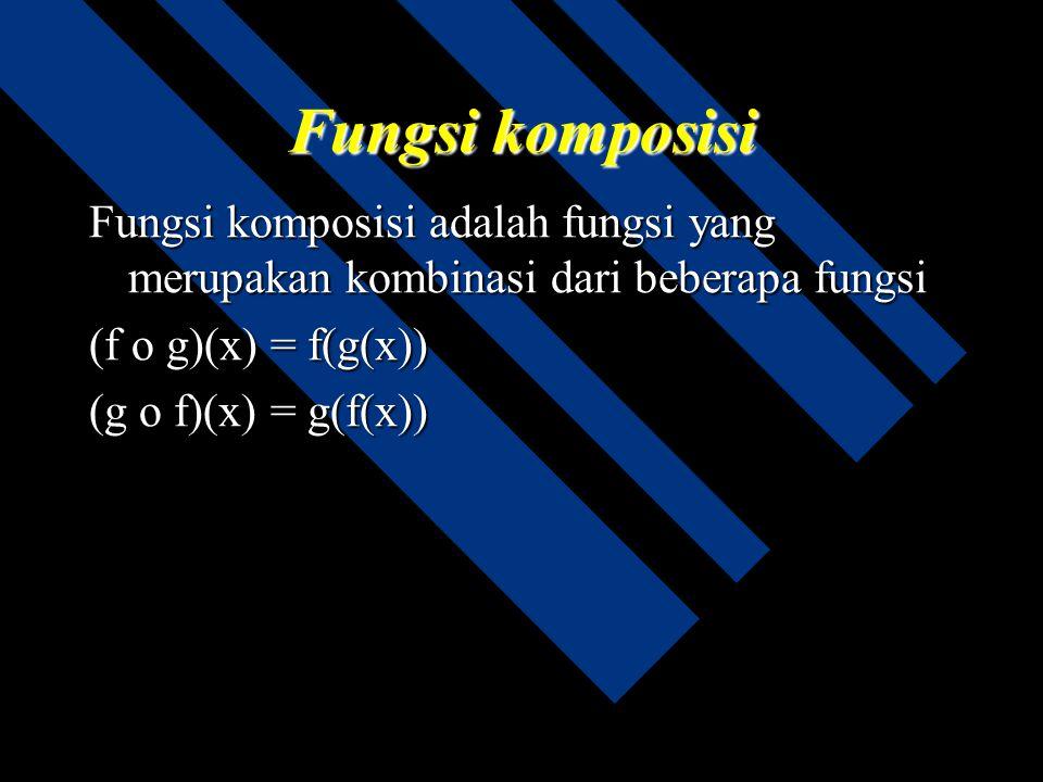 Fungsi pecah Daerah definisi (domain) f(x) =, Q(x)  0 Fungsi irasional Fungsi irasional adalah fungsi yang mempunyai bentuk : f(x) =