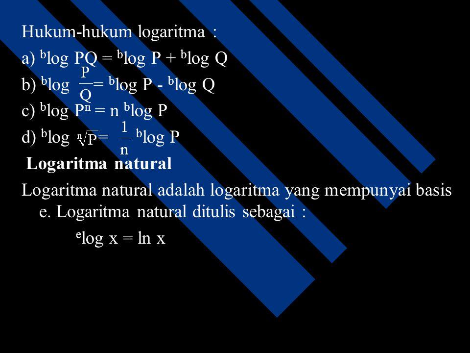 Fungsi logaritma Fungsi logaritma adalah fungsi yang didefinisikan sebagai invers dari fungsi eksponensial. alog y = x  y = ax alog 1 = 0 alog a = 1
