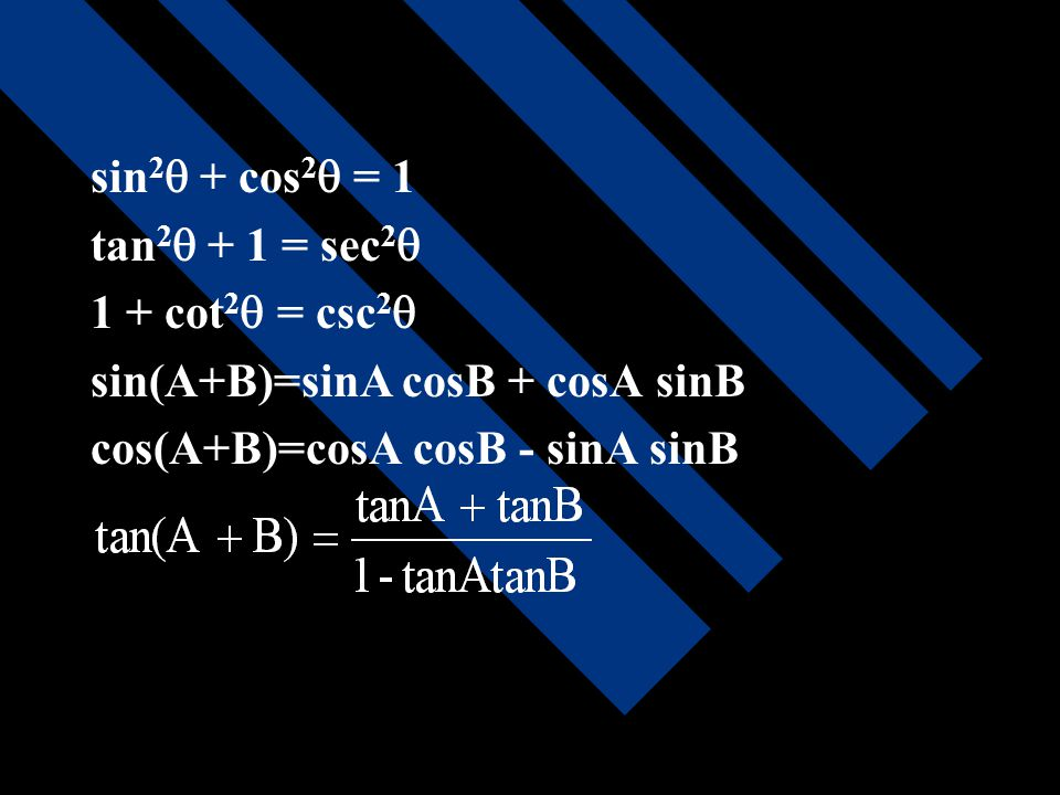 sin  = cos  = tan  = cot  = sec  = csc  =