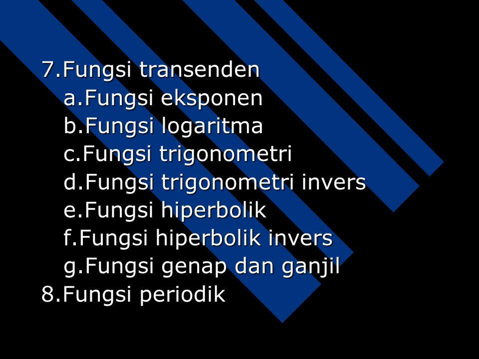 7.Fungsi transenden a.Fungsi eksponen b.Fungsi logaritma c.Fungsi trigonometri d.Fungsi trigonometri invers e.Fungsi hiperbolik f.Fungsi hiperbolik invers g.Fungsi genap dan ganjil 8.Fungsi periodik