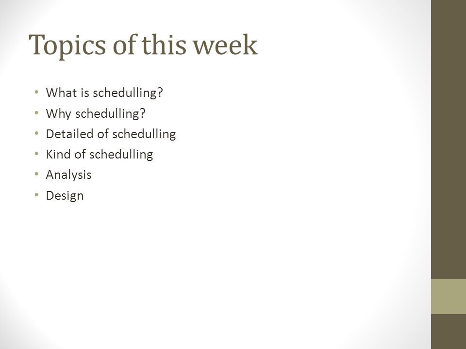 Topics of this week What is schedulling? Why schedulling? Detailed of schedulling Kind of schedulling Analysis Design