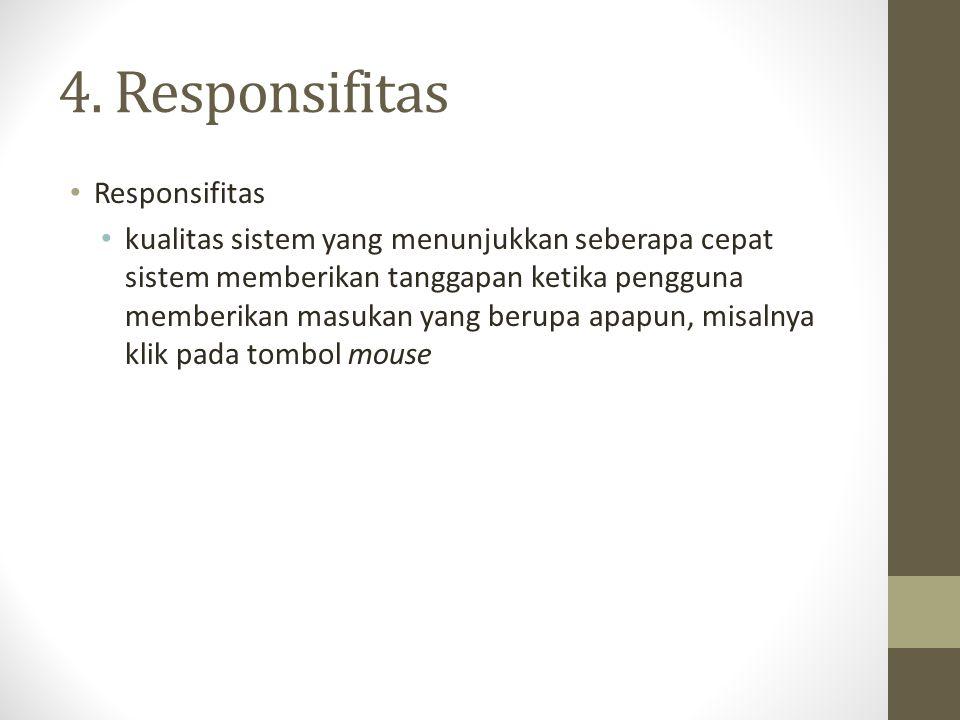 4. Responsifitas Responsifitas kualitas sistem yang menunjukkan seberapa cepat sistem memberikan tanggapan ketika pengguna memberikan masukan yang ber