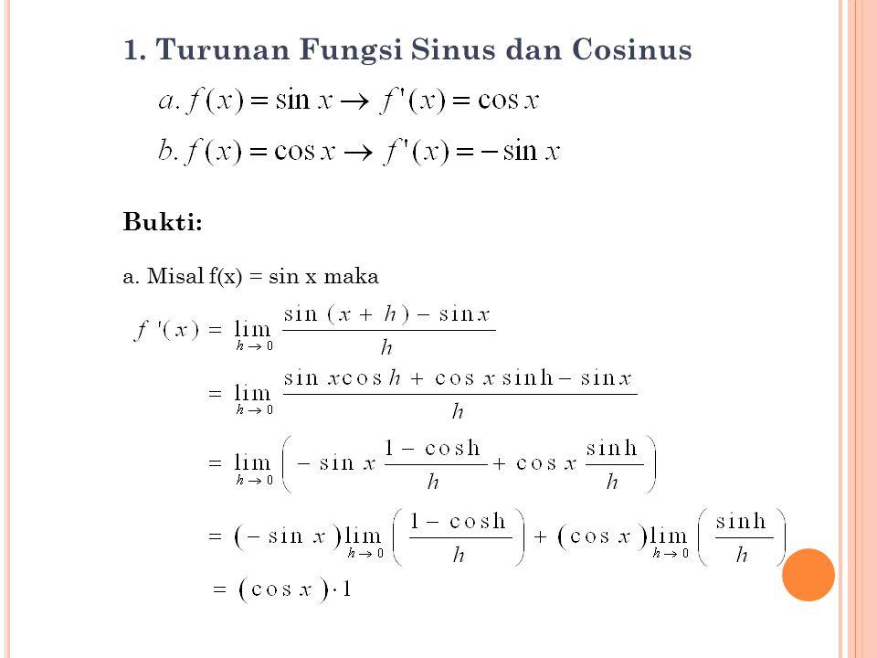1. Turunan Fungsi Sinus dan Cosinus Bukti: a. Misal f(x) = sin x maka 2