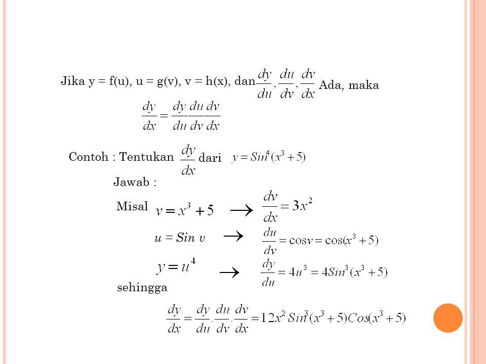 7 Jika y = f(u), u = g(v), v = h(x), dan Ada, maka Contoh : Tentukan dari Jawab : Misal u = Sin v sehingga