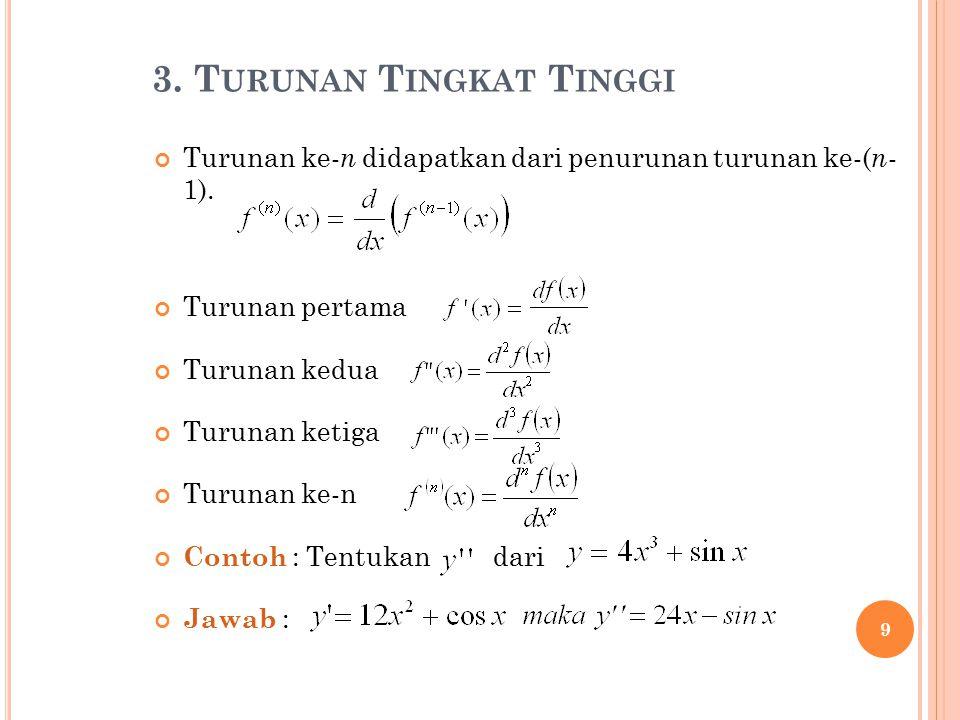 3. T URUNAN T INGKAT T INGGI Turunan ke- n didapatkan dari penurunan turunan ke-( n - 1). Turunan pertama Turunan kedua Turunan ketiga Turunan ke-n Co