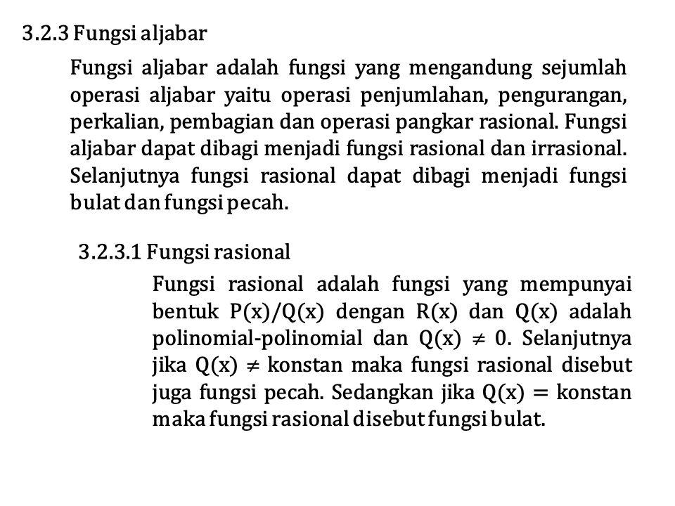 3.2.3 Fungsi aljabar Fungsi aljabar adalah fungsi yang mengandung sejumlah operasi aljabar yaitu operasi penjumlahan, pengurangan, perkalian, pembagian dan operasi pangkar rasional.