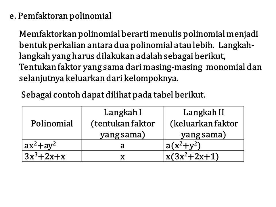 Memfaktorkan polinomial berarti menulis polinomial menjadi bentuk perkalian antara dua polinomial atau lebih.