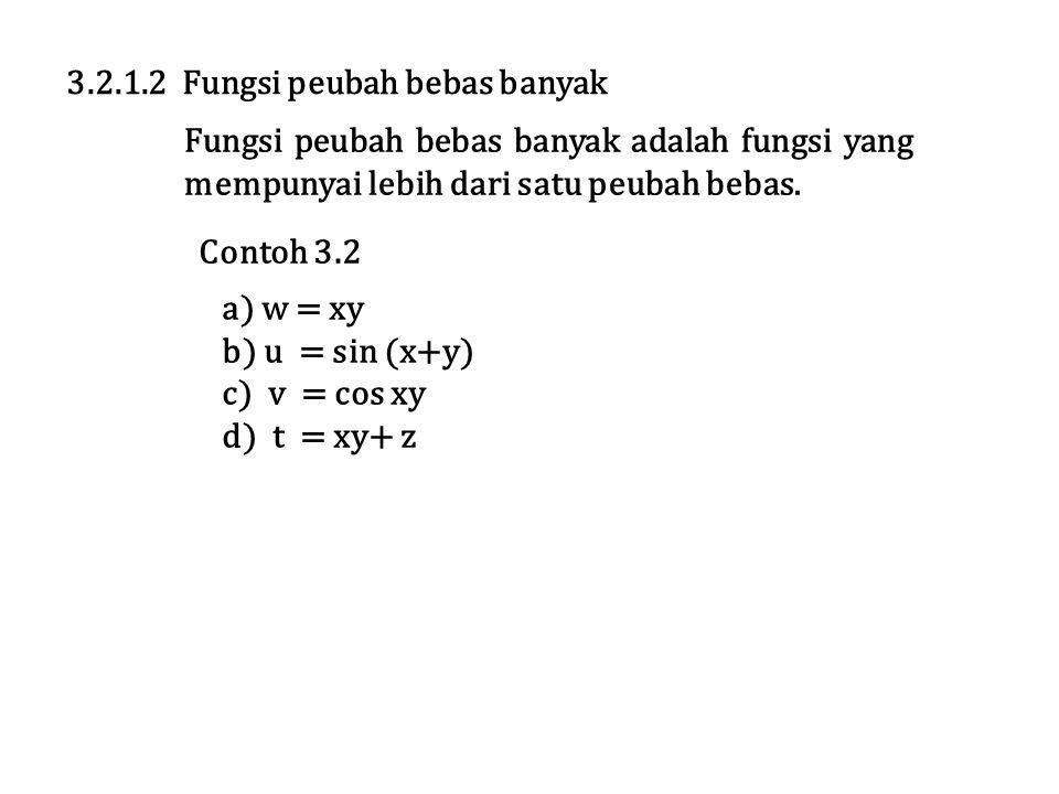 Contoh 3.2 a) w = xy b) u = sin (x+y) c) v = cos xy d) t = xy+ z 3.2.1.2 Fungsi peubah bebas banyak Fungsi peubah bebas banyak adalah fungsi yang mempunyai lebih dari satu peubah bebas.