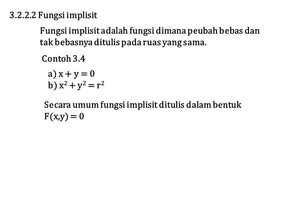 Secara umum fungsi implisit ditulis dalam bentuk F(x,y) = 0 3.2.2.2 Fungsi implisit Fungsi implisit adalah fungsi dimana peubah bebas dan tak bebasnya ditulis pada ruas yang sama.