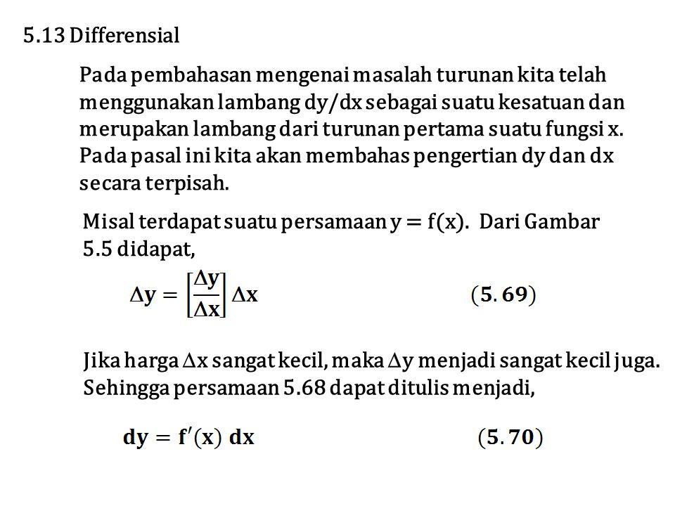 Pada pembahasan mengenai masalah turunan kita telah menggunakan lambang dy/dx sebagai suatu kesatuan dan merupakan lambang dari turunan pertama suatu fungsi x.