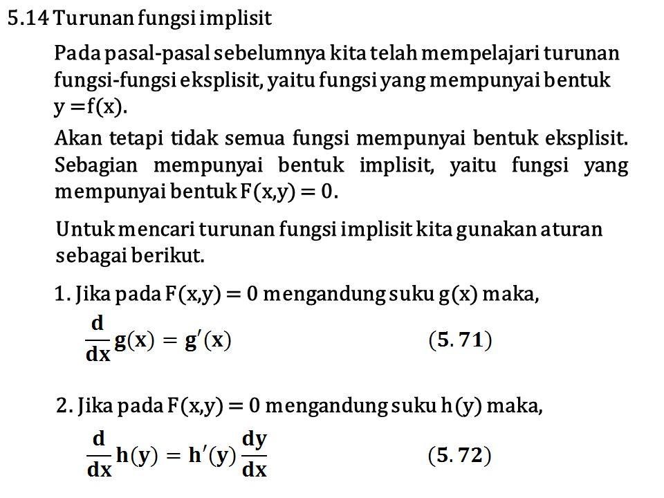 Pada pasal-pasal sebelumnya kita telah mempelajari turunan fungsi-fungsi eksplisit, yaitu fungsi yang mempunyai bentuk y =f(x). 5.14 Turunan fungsi im