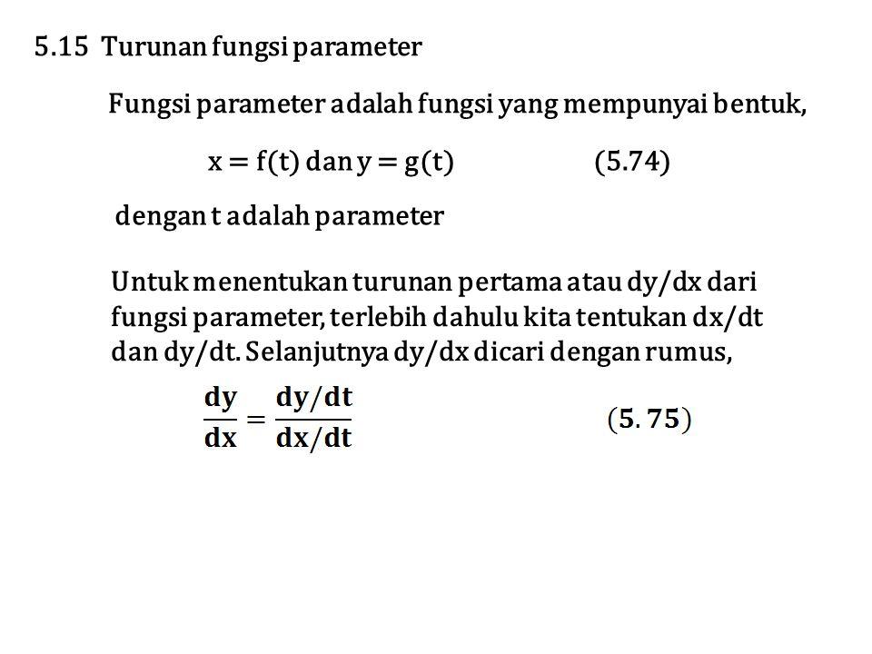 Fungsi parameter adalah fungsi yang mempunyai bentuk, 5.15 Turunan fungsi parameter x = f(t) dan y = g(t) (5.74) Untuk menentukan turunan pertama atau dy/dx dari fungsi parameter, terlebih dahulu kita tentukan dx/dt dan dy/dt.