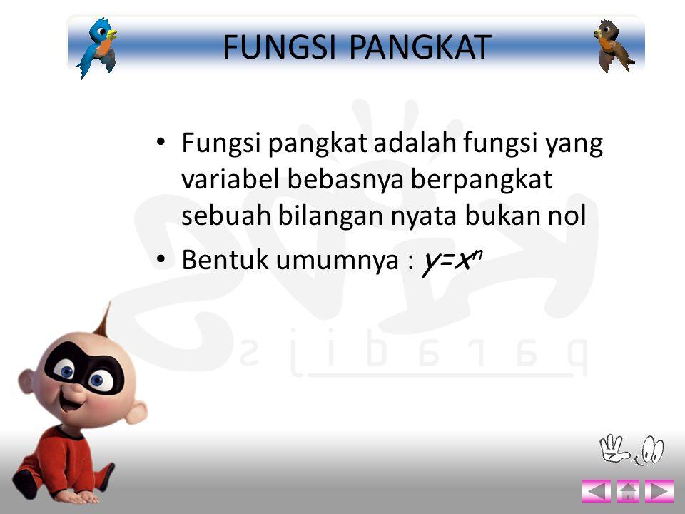 Fungsi pangkat adalah fungsi yang variabel bebasnya berpangkat sebuah bilangan nyata bukan nol Bentuk umumnya : y=x n FUNGSI PANGKAT