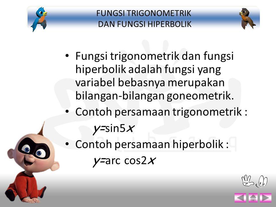 Fungsi trigonometrik dan fungsi hiperbolik adalah fungsi yang variabel bebasnya merupakan bilangan-bilangan goneometrik. Contoh persamaan trigonometri