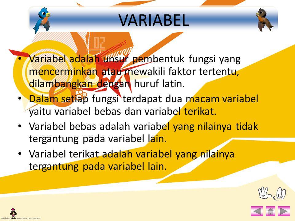 Variabel adalah unsur pembentuk fungsi yang mencerminkan atau mewakili faktor tertentu, dilambangkan dengan huruf latin. Dalam setiap fungsi terdapat