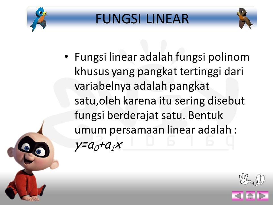 Fungsi linear adalah fungsi polinom khusus yang pangkat tertinggi dari variabelnya adalah pangkat satu,oleh karena itu sering disebut fungsi berderaja