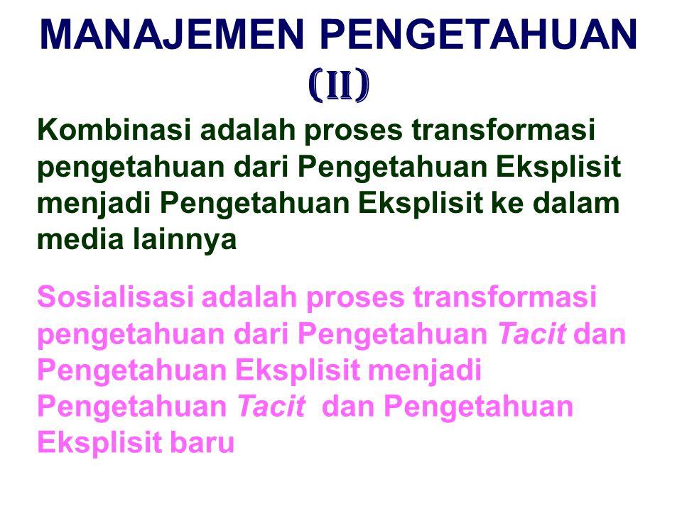 MANAJEMEN PENGETAHUAN (I) Eksternalisasi adalah proses transformasi pengetahuan dari Pengetahuan Tacit menjadi Pengetahuan Eksplisit Internalisasi ada