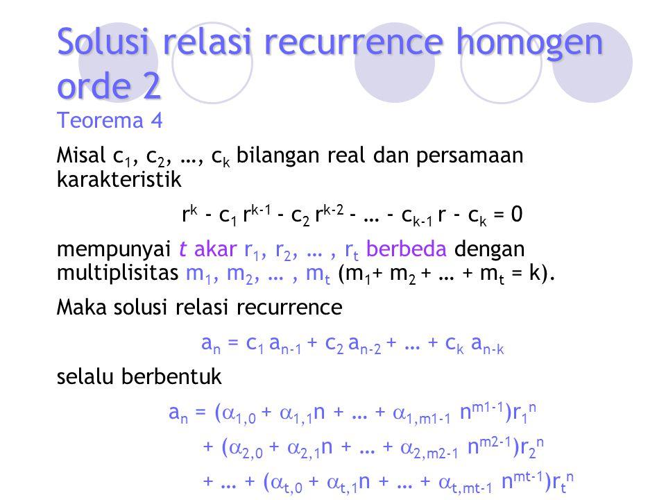 Solusi relasi recurrence homogen orde 2 Teorema 4 Misal c 1, c 2, …, c k bilangan real dan persamaan karakteristik r k - c 1 r k-1 - c 2 r k-2 - … - c